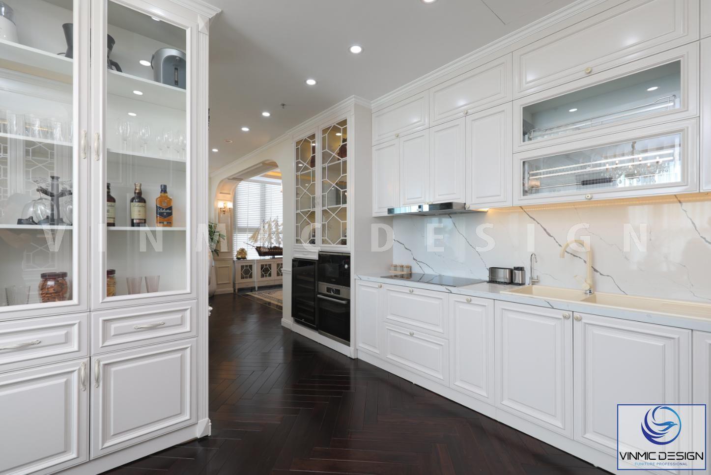 Thi công nội thất phòng bếp đẹp tại biệt thự Vinhomes Green Bay - Mộc Lan