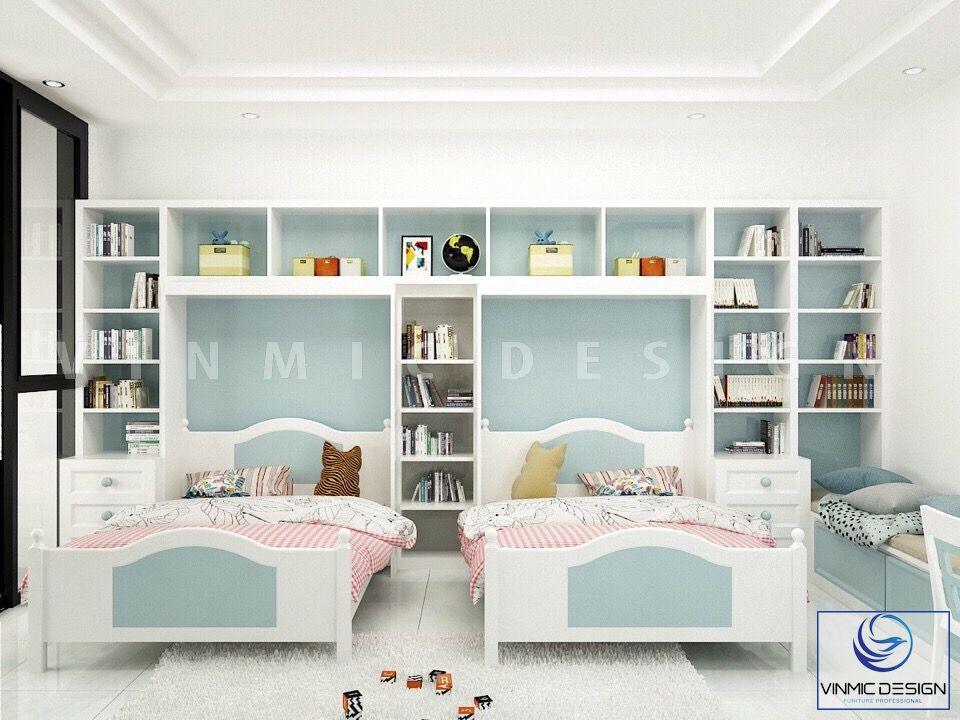 Thiết kế giường ngủ cho 2 bé gái sinh đôi
