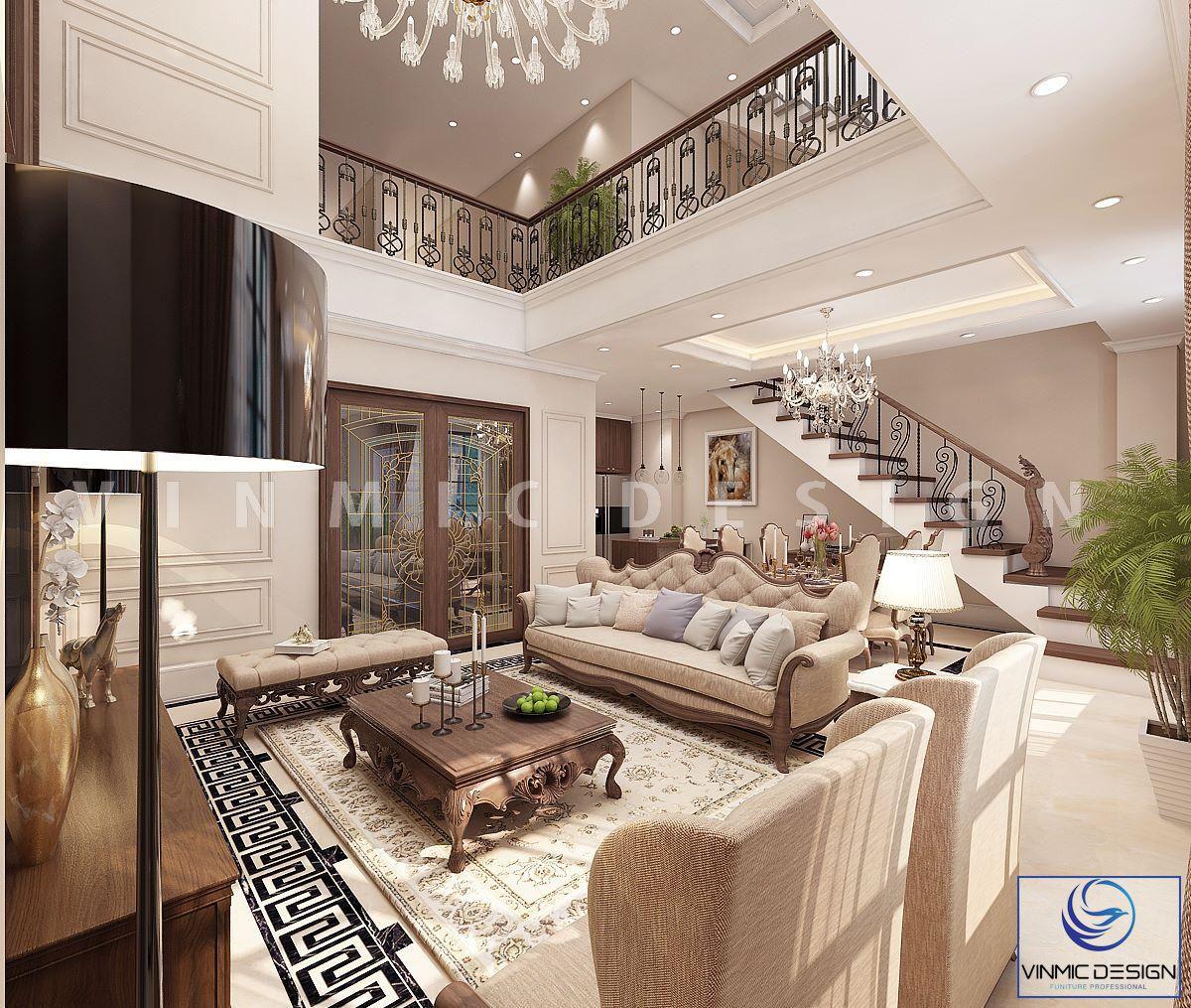 Thiết kế nội thất biệt thự với bộ sofa gỗ óc chó tân cổ điển sang trọng tại Imperia Hải Phòng