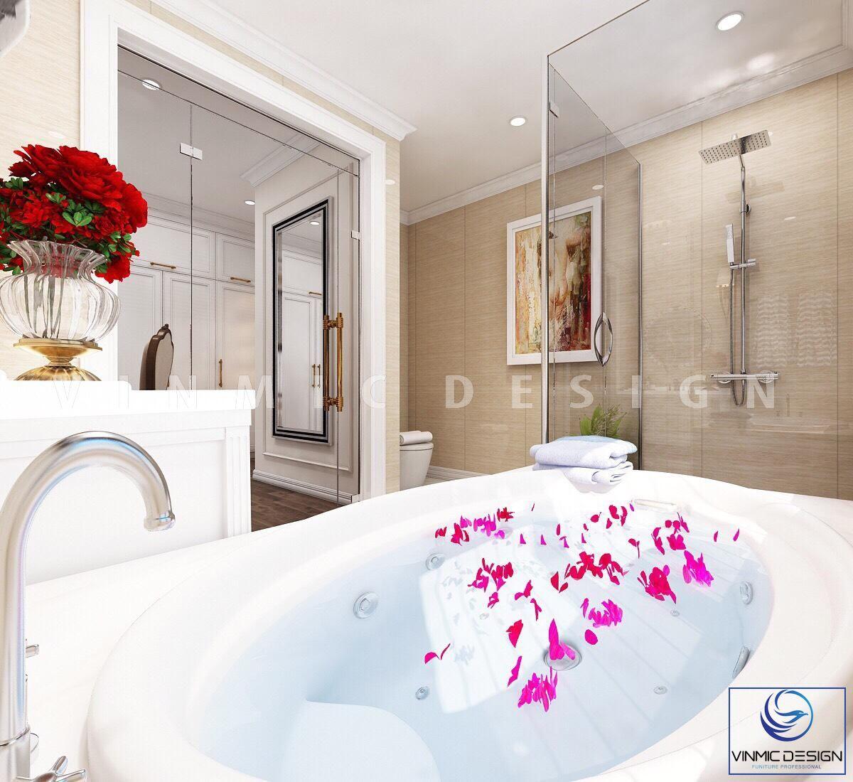 Thiết kế nội thất phòng tắm/ vệ sinh rộng rãi và đẹp mắt tại biệt thự Vinhomes Imperia Hải Phòng