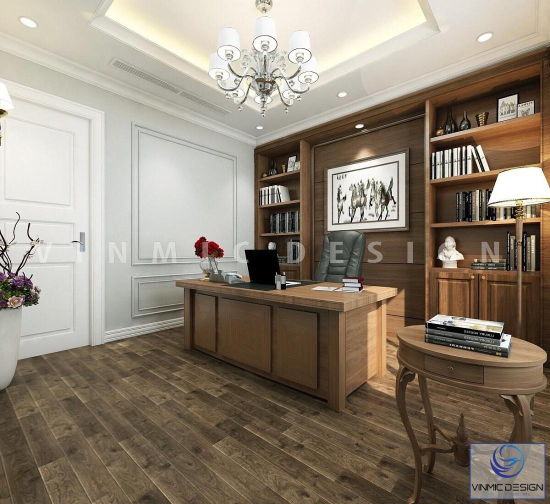 Thiết kế nội thất phòng làm việc sang trọng tại biệt thự Vinhomes Imperia Hải Phòng