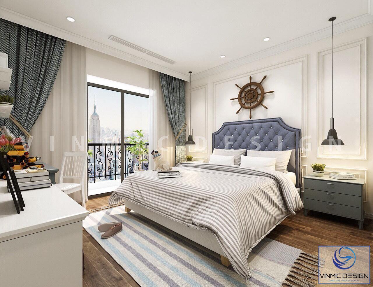Phối các màu trung tính tạo cảm giác mát mẻ, tươi mới cho phòng ngủ bé trai tại biệt thự Vinhomes Imperia Hải Phòng