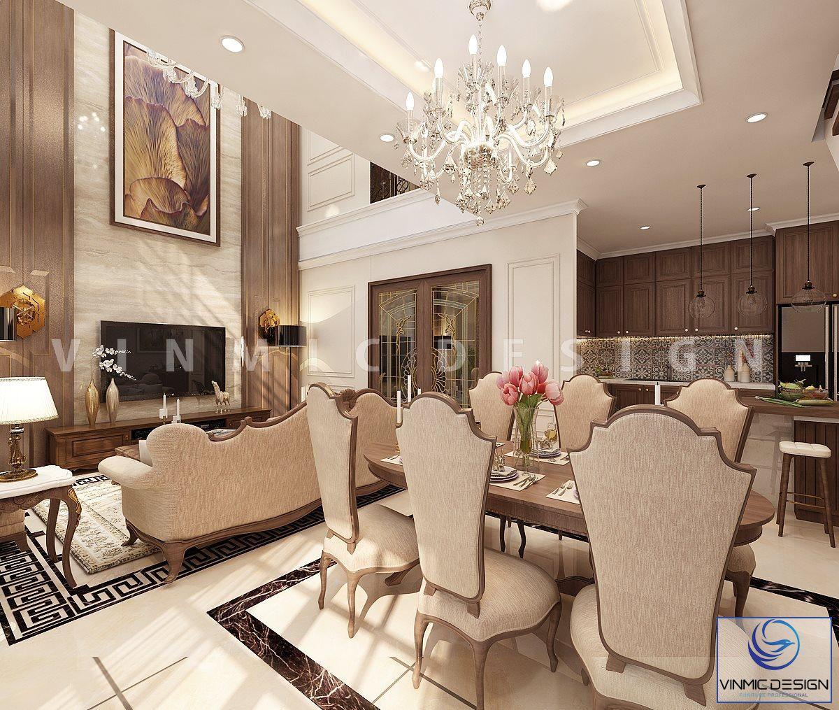 Thiết kế nội thất theo hướng liền mạch khách - bếp, đèn chùm đẹp tại biệt thự Vinhomes Imperia Hải Phòng