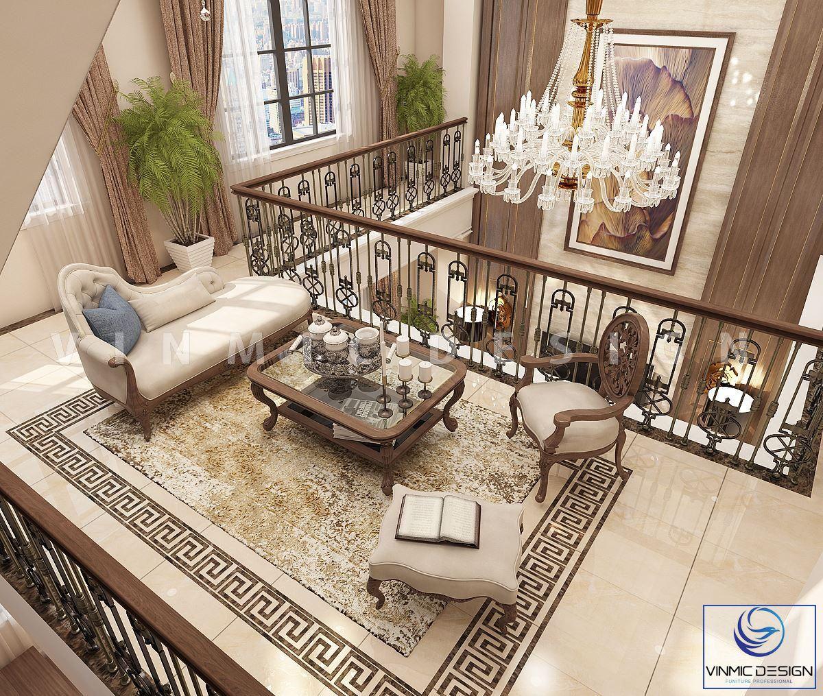 Thiết kế nội thất tầng lửng biệt thự Vinhomes Imperia Hải Phòng với những chi tiết trang trí từ đèn chùm thả trần, rèm cửa, thảm trải sàn góp phần tôn lên vẻ đẹp rạng rỡ của căn biệt thự này