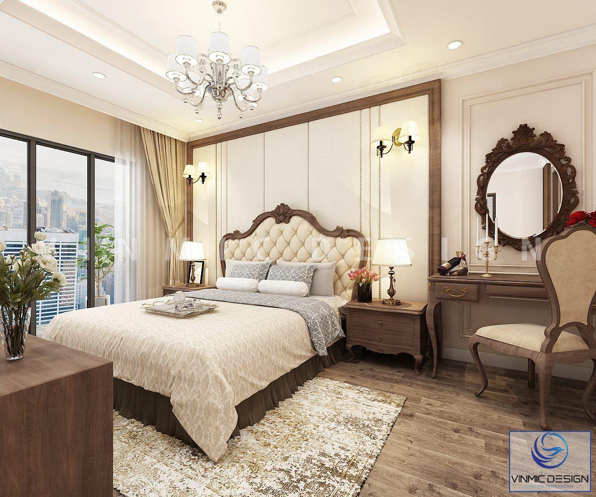 Thiết kế nội thất phòng ngủ master đẹp, sang trọng tại biệt thự Vinhomes Imperia Hải Phòng
