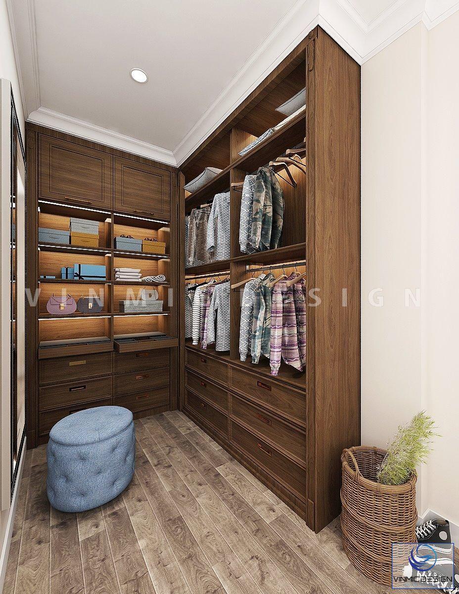 Phòng thay đồ được thiết kế một tủ quần áo gỗ công nghiệp MDF lõi xanh chống ẩm bề mặt Melamine giả gỗ tại biệt thự Vinhomes Imperia Hải Phòng