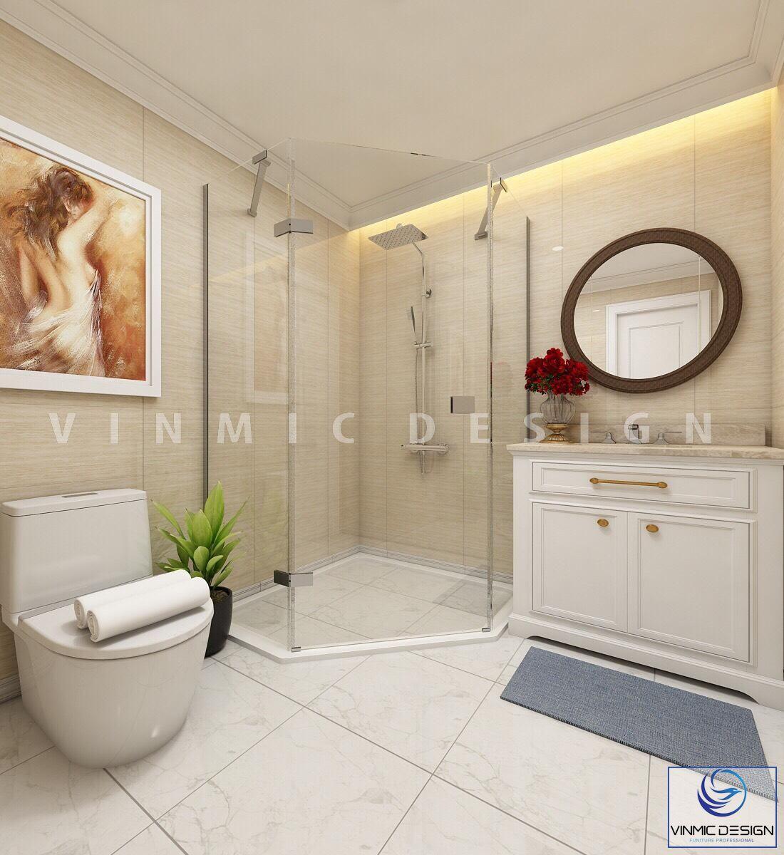 Thiết kế nội thất phòng tắm/nhà vệ sinh với vách tắm kính để nước không bị tràn ra toàn sàn tại biệt thự Vinhomes Imperia Hải Phòng