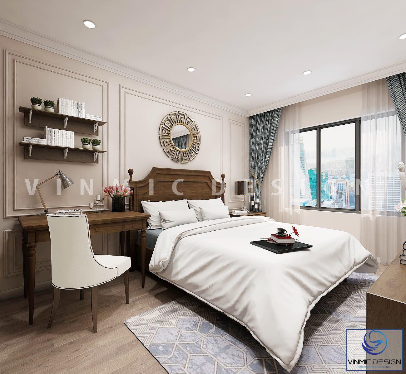 Thiết kế nội thất phòng ngủ đẹp với tone màu trang nhã, sang trọng tại biệt thự Vinhomes Imperia Hải Phòng