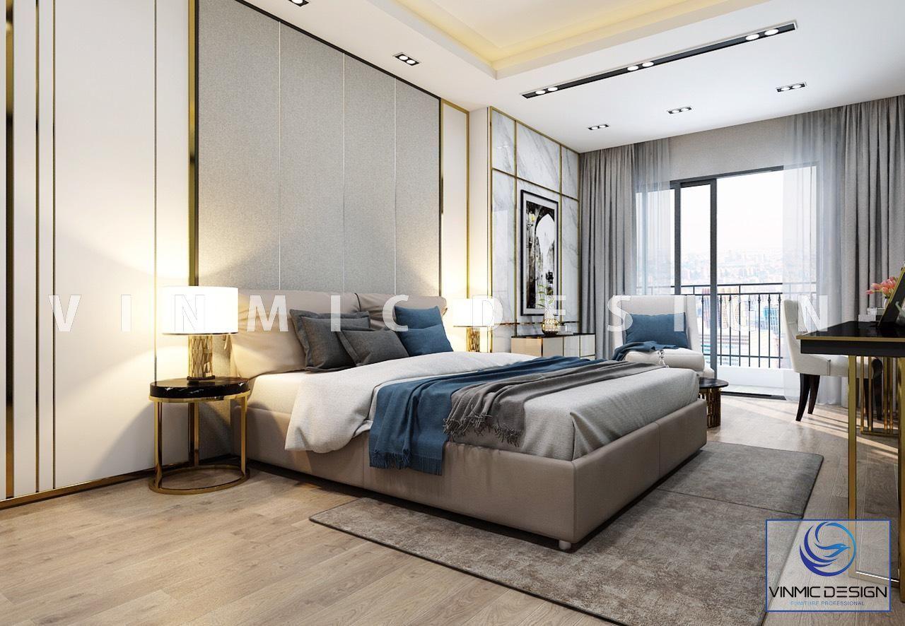 Thiết kế giường ngủ chung cư hiên đại - Nội thất Vinmic