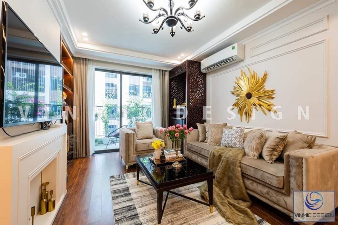 Thi công nội thất phòng khách đẹp với bộ sofa tân cổ đẹp mắt tại biệt thự Vinhomes Star City
