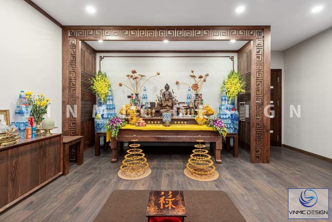 Cận cảnh bàn thờ truyền thống tại biệt thự Vinhomes Star City