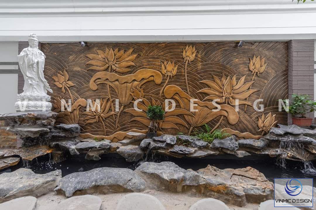 Thi công ngoại thất với bức tranh phù điêu hoa sen đẹp tại biệt thự Vinhomes Star City