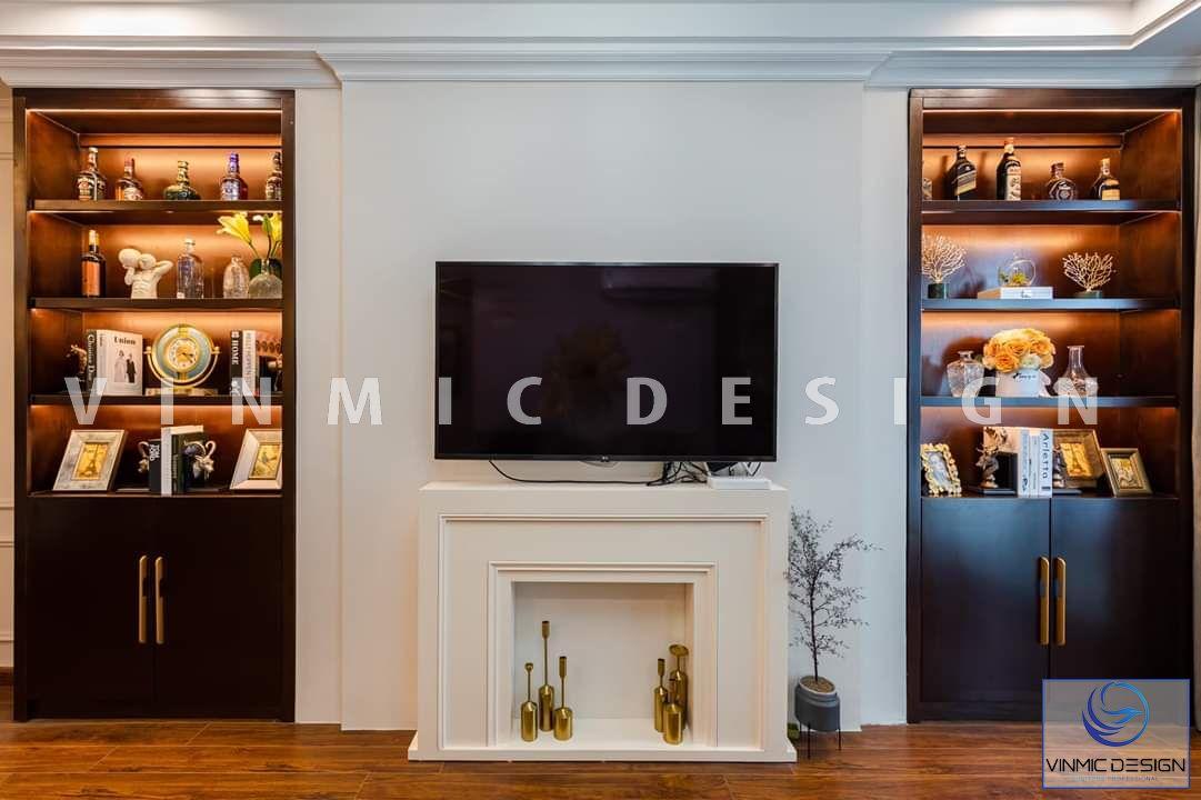Thi công kệ tivi ấn tượng cùng tủ rượu kết hợp trang trí đẹp tại biệt thự Vinhomes Star City