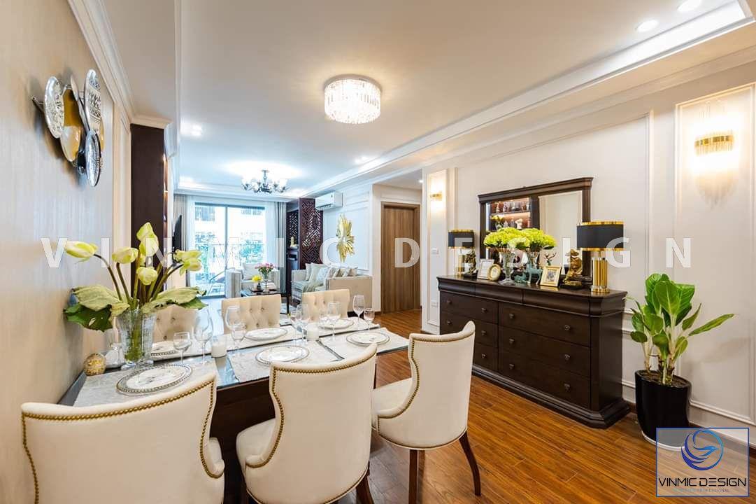 Thi công nội thất không gian bếp đẹp với bộ bàn ghế tân cổ điển sang trọng tại biệt thự Vinhomes Star City