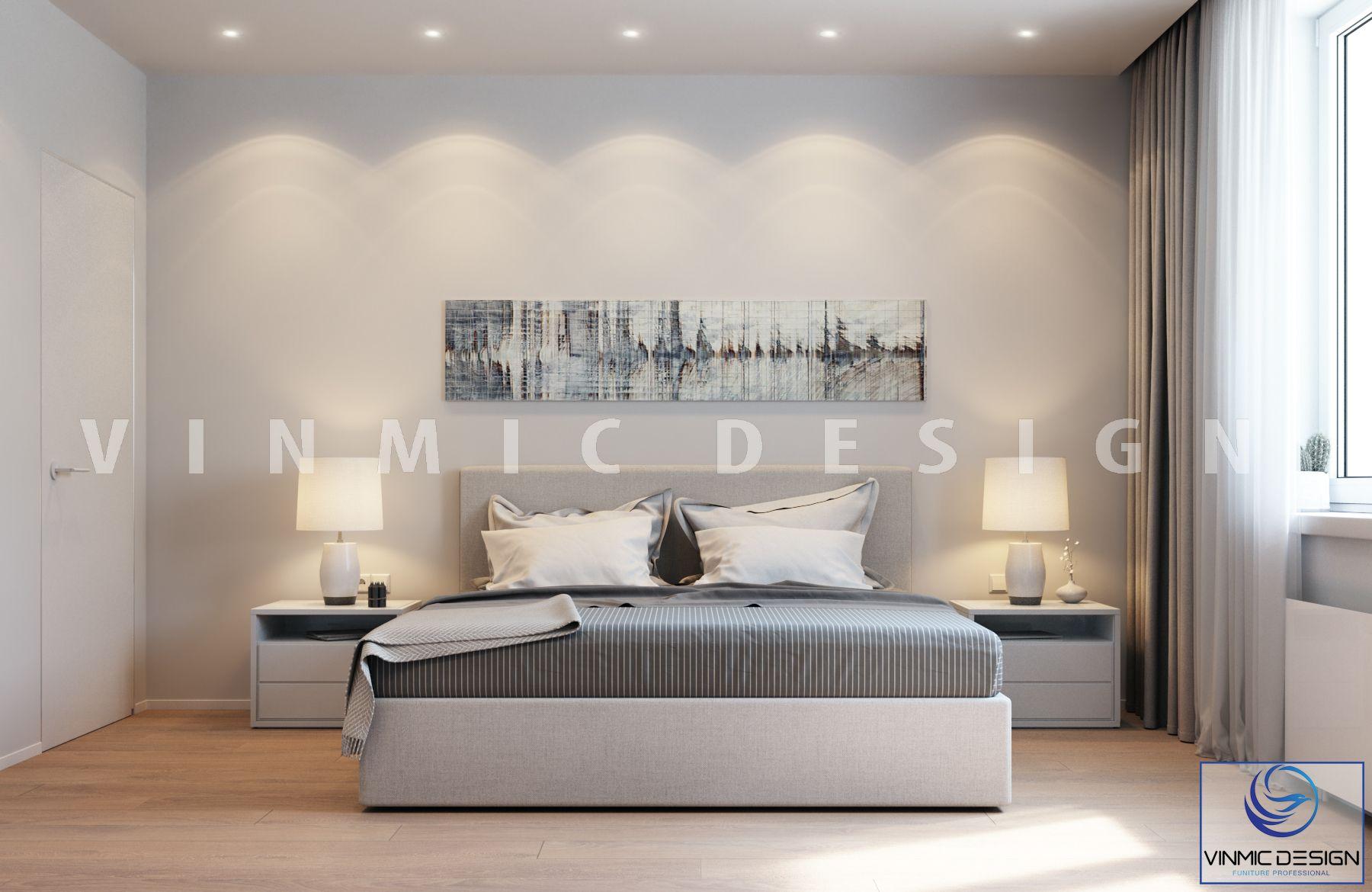 Thiết kế nội thất phòng ngủ tone màu trung tính hiện đại