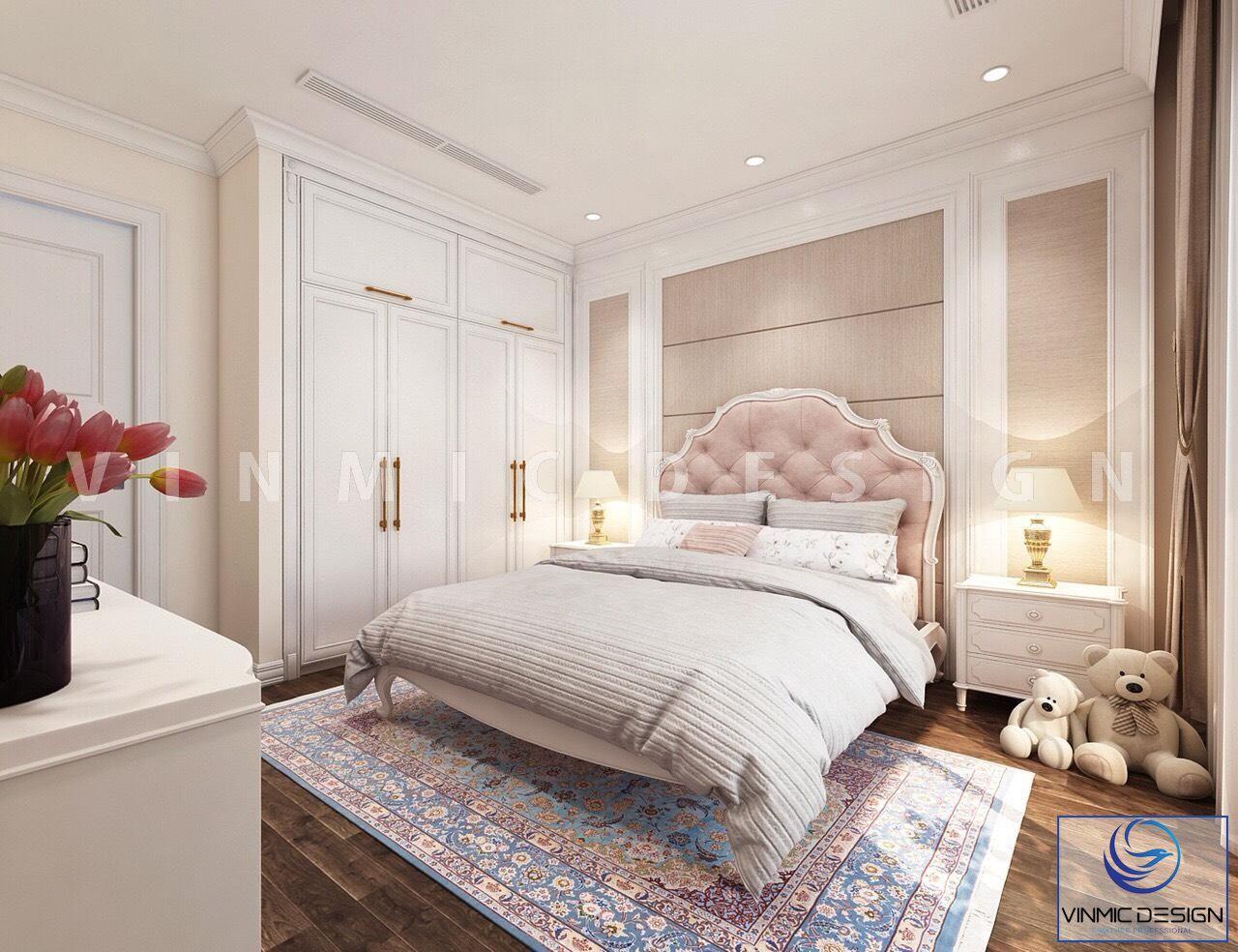 Tủ quần áo âm tường đẹp trong công trình thiết kế nội thất phòng ngủ bé gái phong cách tân cổ điển tại biệt thự Vinhomes Imperia Hải Phòng