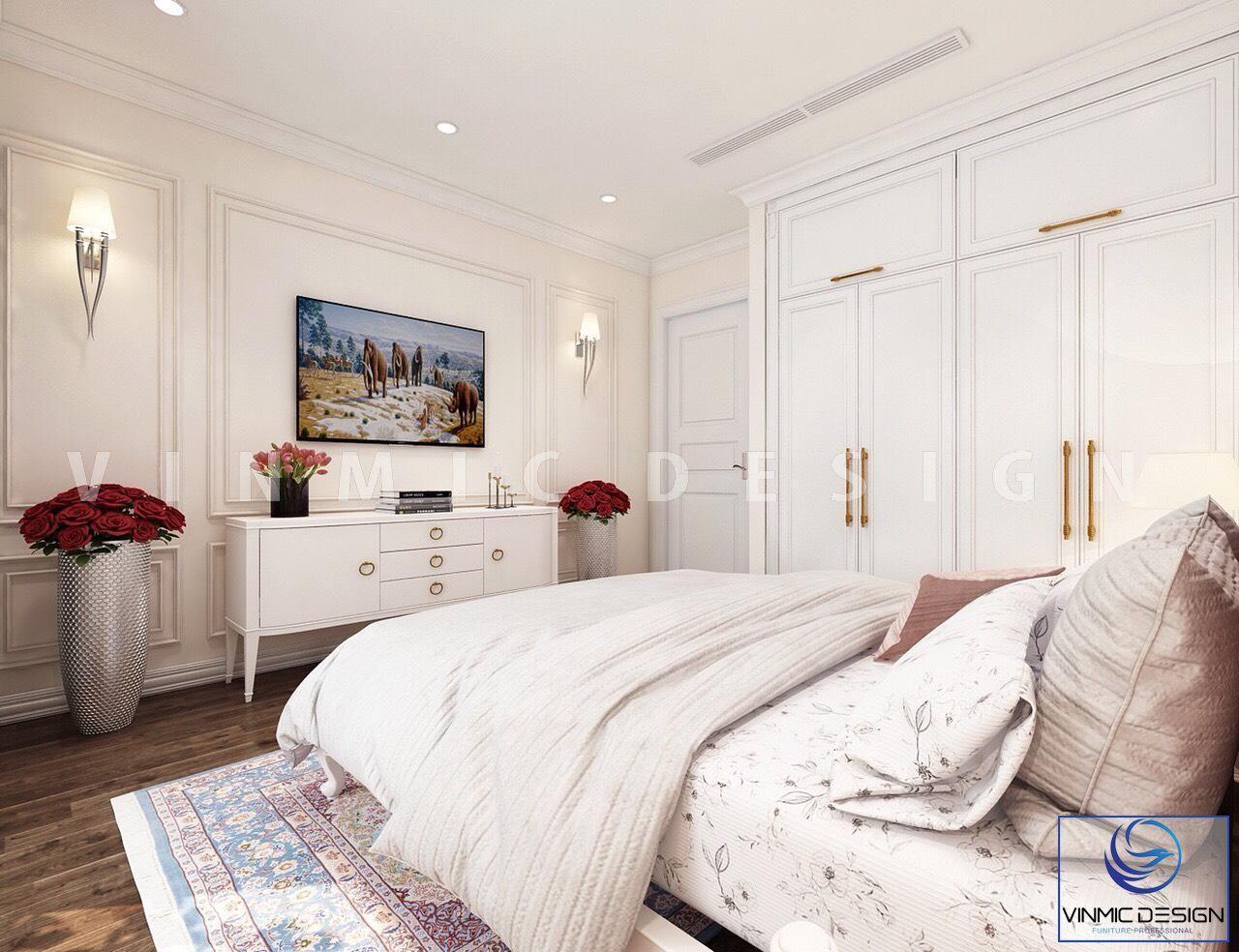 Góc khác của căn phòng thiết kế nội thất phong cách tân cổ điển đẹp tại biệt thự Vinhomes Imperia Hải Phòng