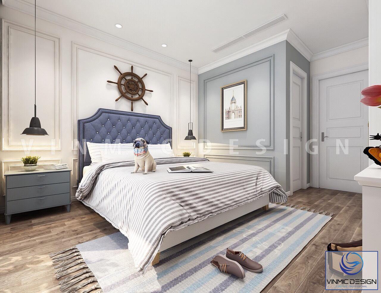 Thiết kế nội thất phong cách tân cổ điển với tone màu xanh biển cùng trang trí bánh lái tàu đầy ý nghĩa