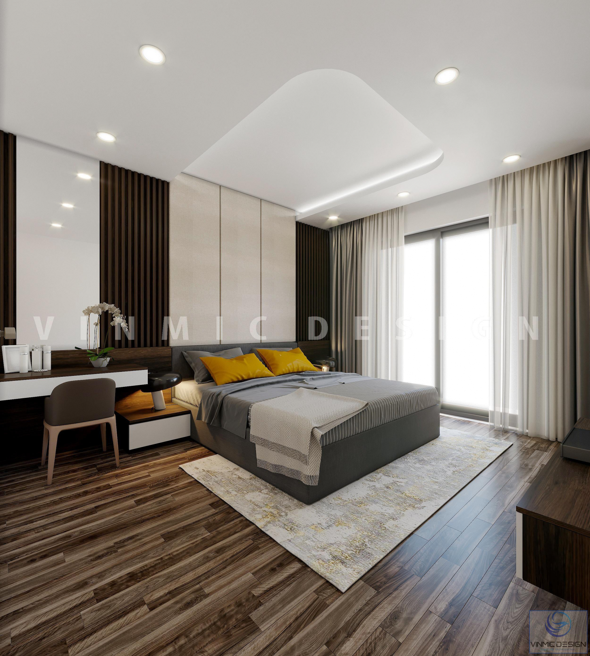 Thiết kế nội thất phòng ngủ master hiện đại, sang trọng tại biệt thự Vinhomes Marina Hải Phòng