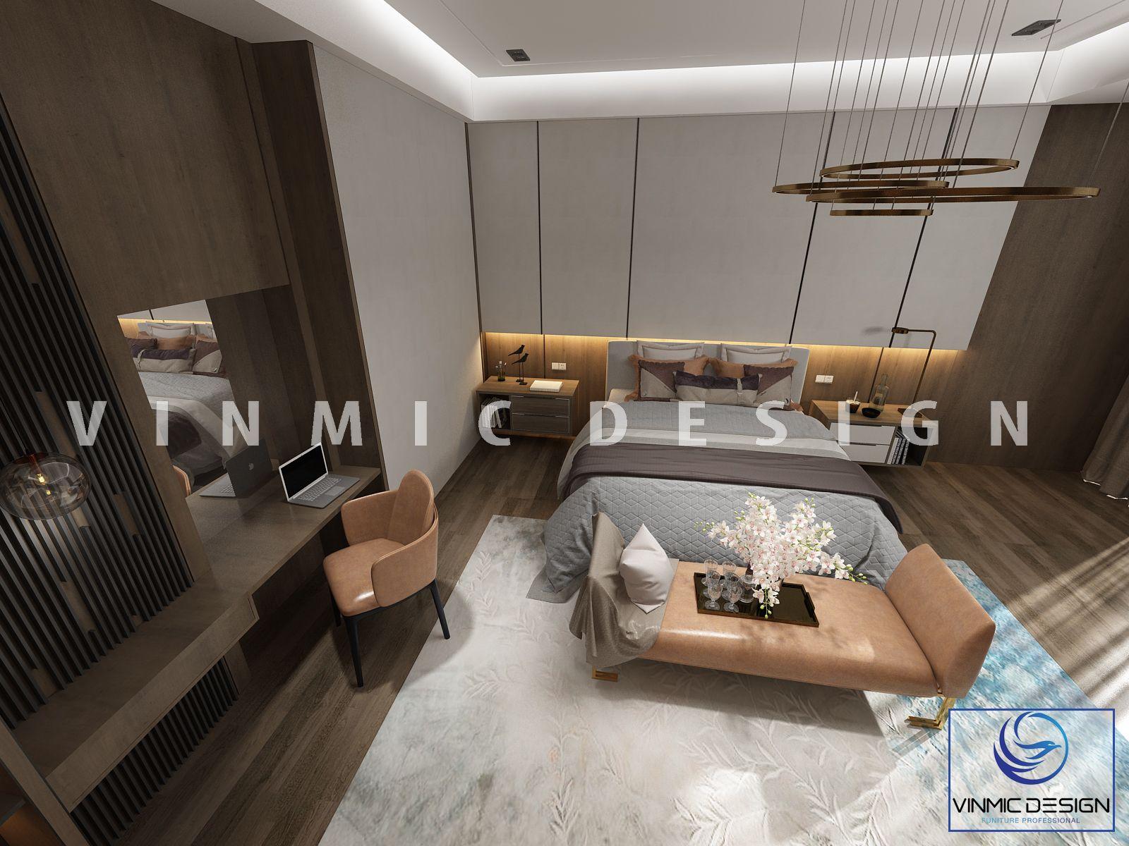 Thiết kế nội thất phòng ngủ sang trọng, hiện đại