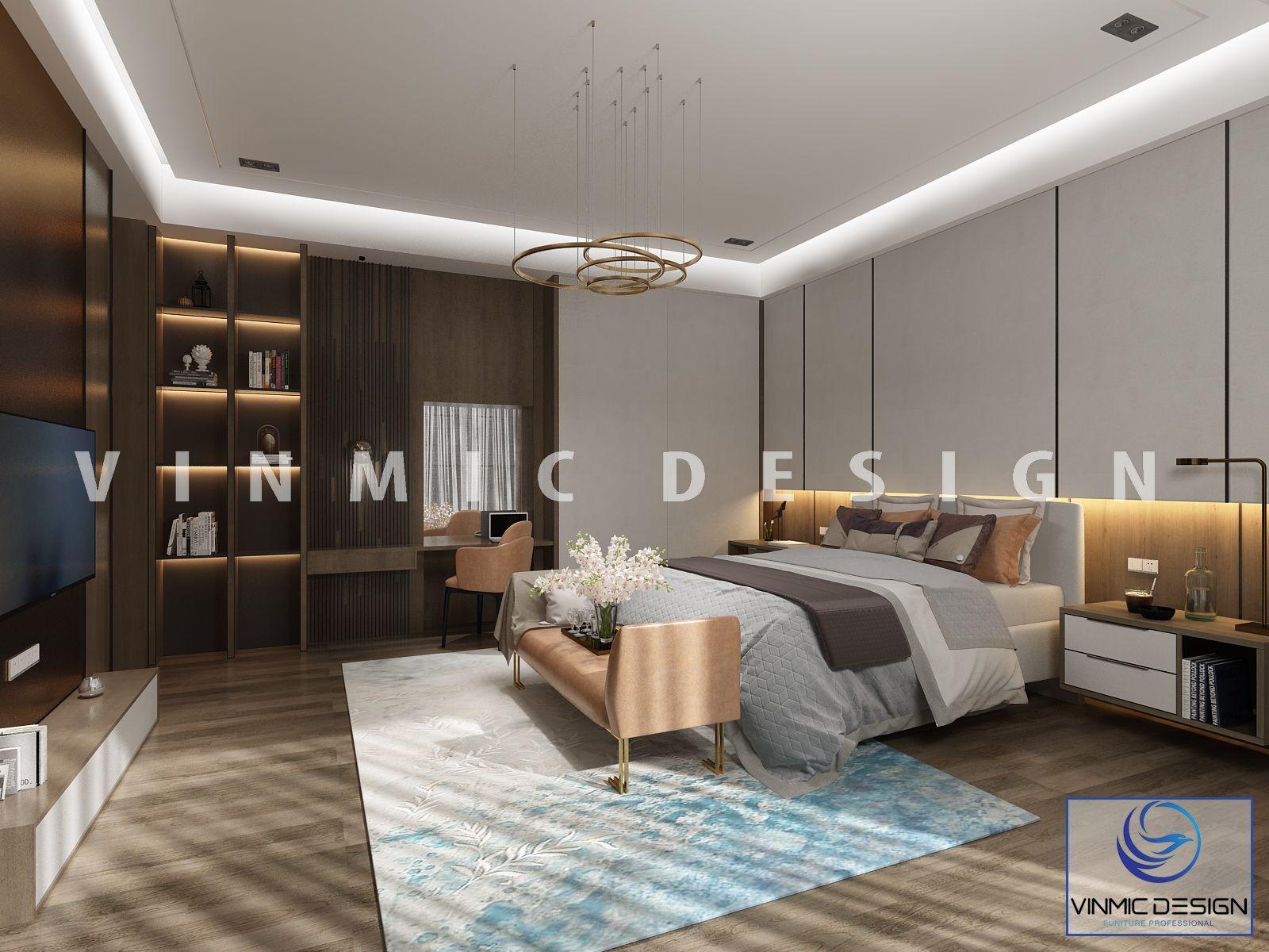 Thiết kế nội thất phòng ngủ tiện nghi, sang trọng