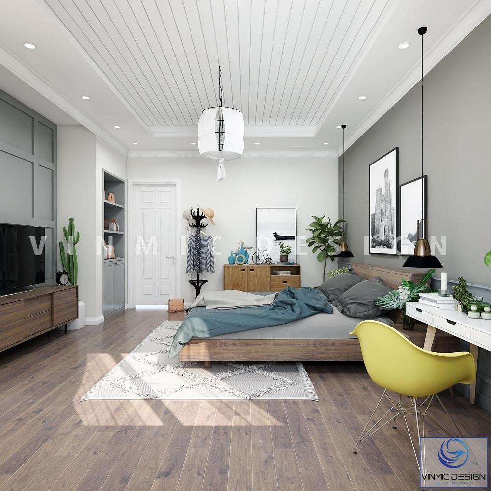 Thiết kế nội thất phòng ngủ phong cách scandinavian với tone màu nền trắng làm nổi bật lên các chi tiết nội thất khác