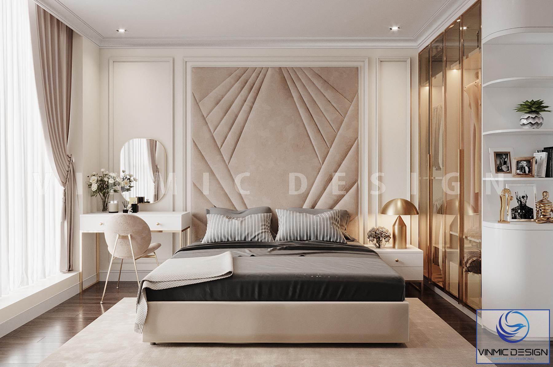 Thiết kế nội thất phong cách tân cổ điển với tone màu sang trọng, nổi bật với tủ quần áo đẹp