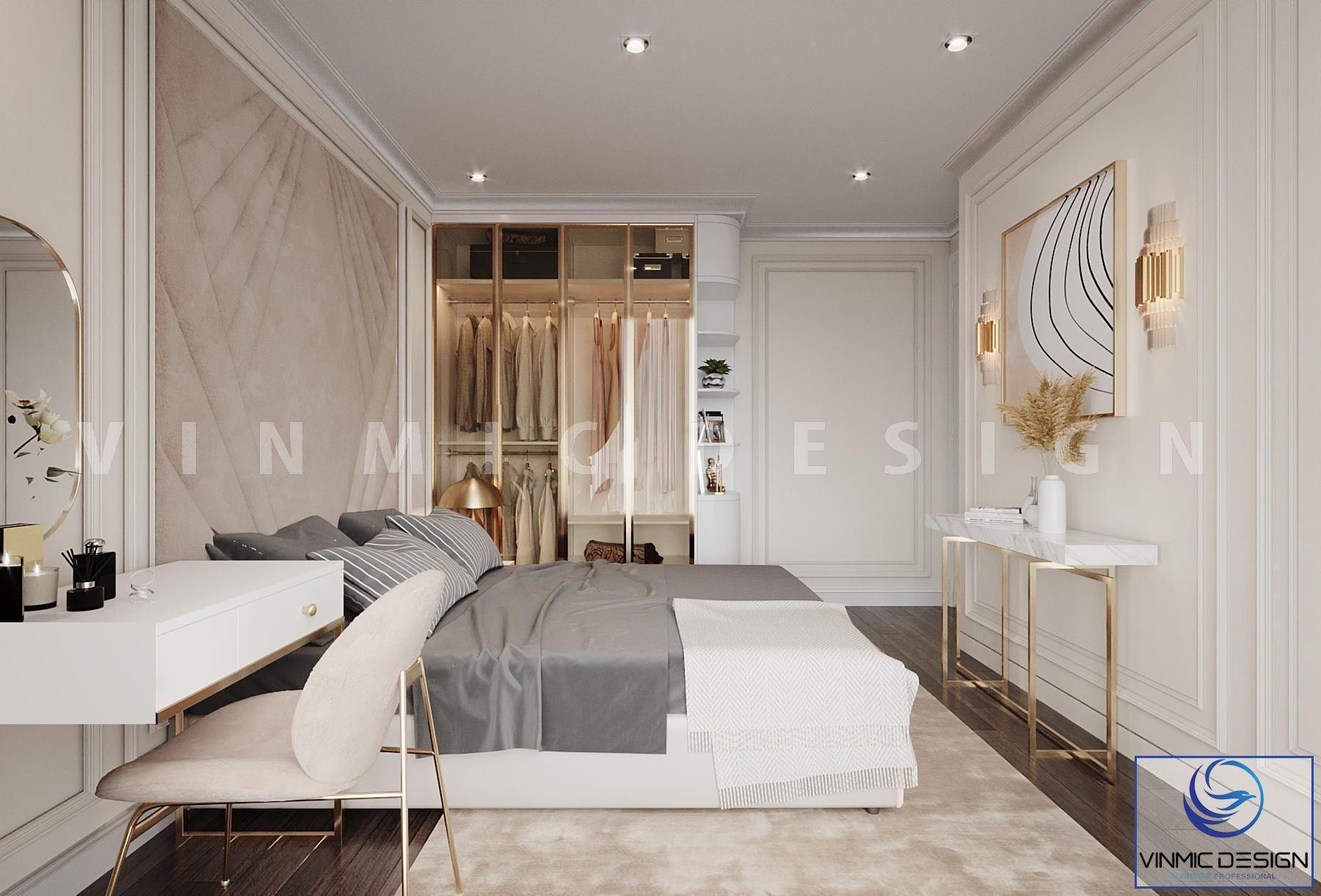 Ở góc này, mẫu Thiết kế nội thất phong cách tân cổ điển với tone màu vàng đồng làm điểm nhấn với ánh sáng đèn và chân kệ tivi