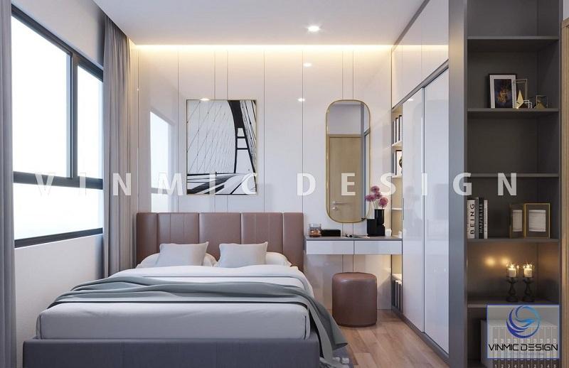 Thiết kế nội thất phòng ngủ hiện đại với bề mặt tủ Acrylic sáng bóng