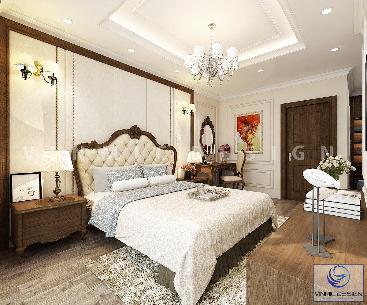 Thiết kế nội thất phòng ngủ phong cách tân cổ điển tại biệt thự Vinhomes Imperia Hải Phòng
