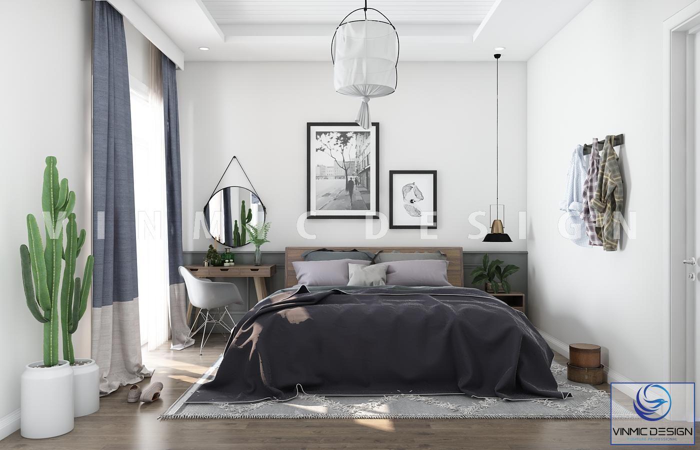 Thiết kế nội thất phòng ngủ phong cách scandinavian với các điểm nhấn là màu xanh của cây và đồ nội thất trên tone màu nền trắng