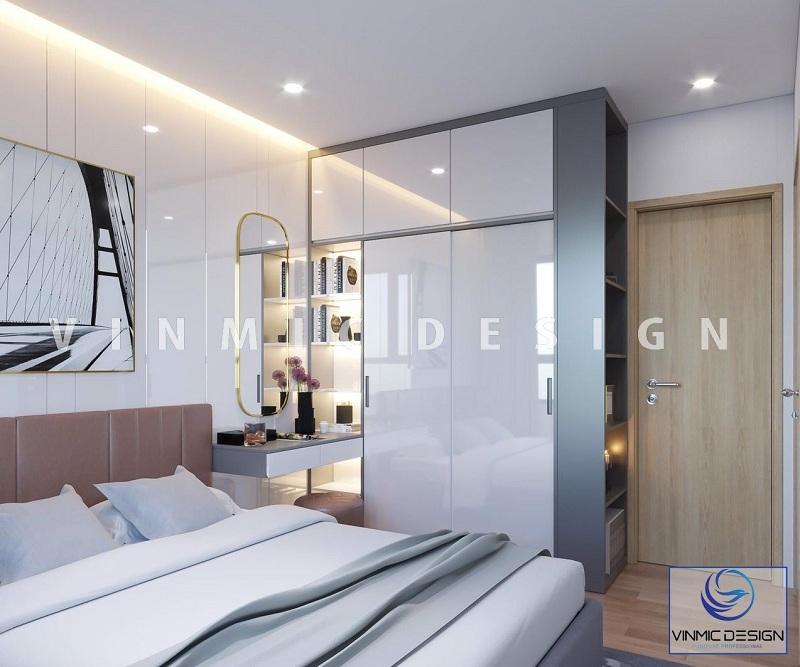 Thiết kế nội thất phòng ngủ với tủ quần áo gỗ công nghiệp MDF lõi xanh, bề mặt Acrylic sáng bóng, sang trọng