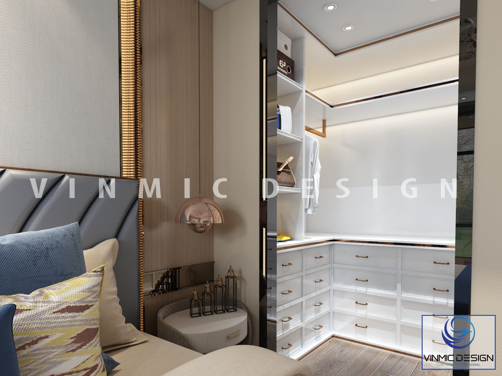 Một góc khác trong phòng ngủ, hiện đại tại căn hộ nhà anh Hải