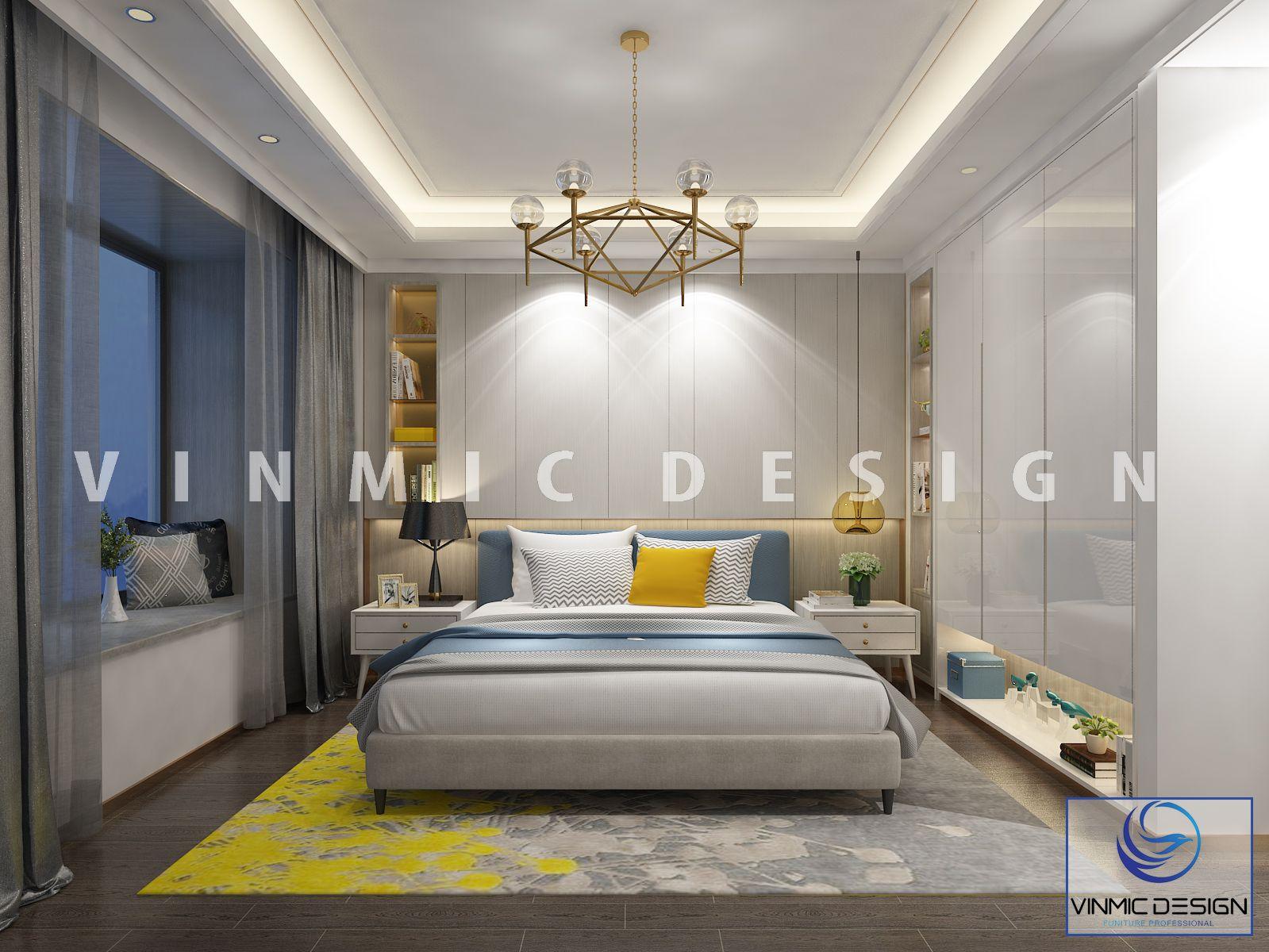 Thiết kế nội thất phòng ngủ đẹp với tone màu vàng trẻ trung, hiện đại