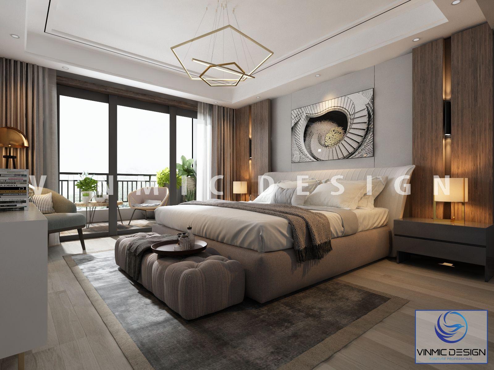 Thiết kế phòng ngủ sang trọng với giường ngủ đa năng bọc nỉ cao cấp