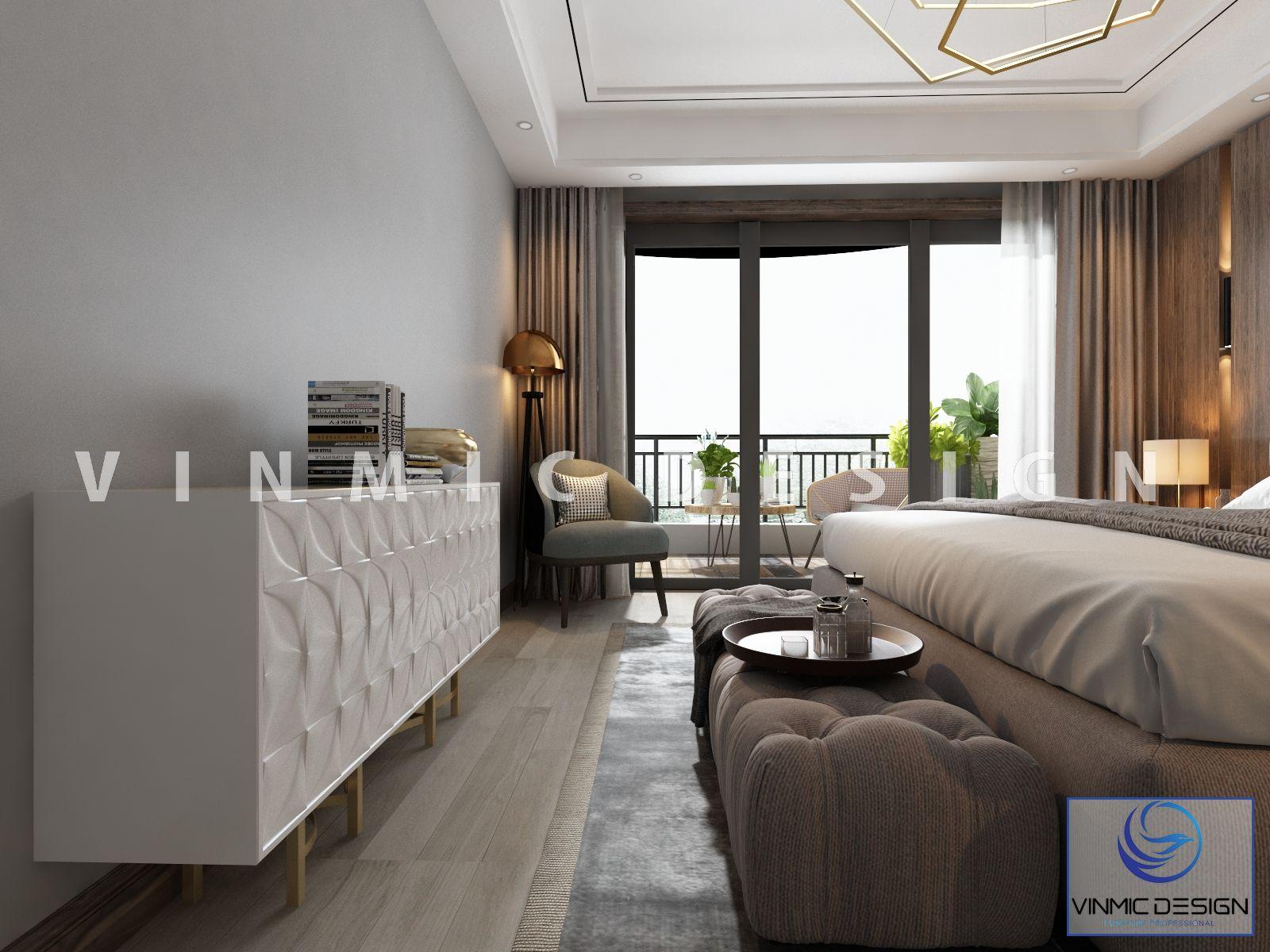 Giường ngủ bọc nỉ kết hợp đồ nội thất đẹp làm căn phòng trở nên hài hòa