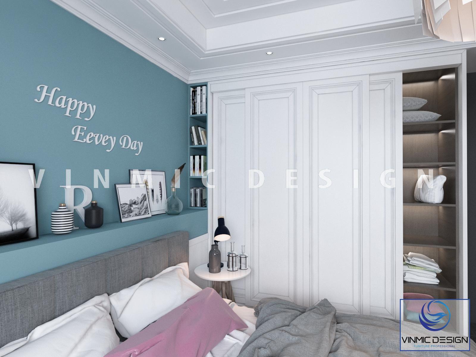 Một góc khác trong thiết kế nội thất phòng ngủ trẻ trung tại căn hộ Vinhomes Smart City