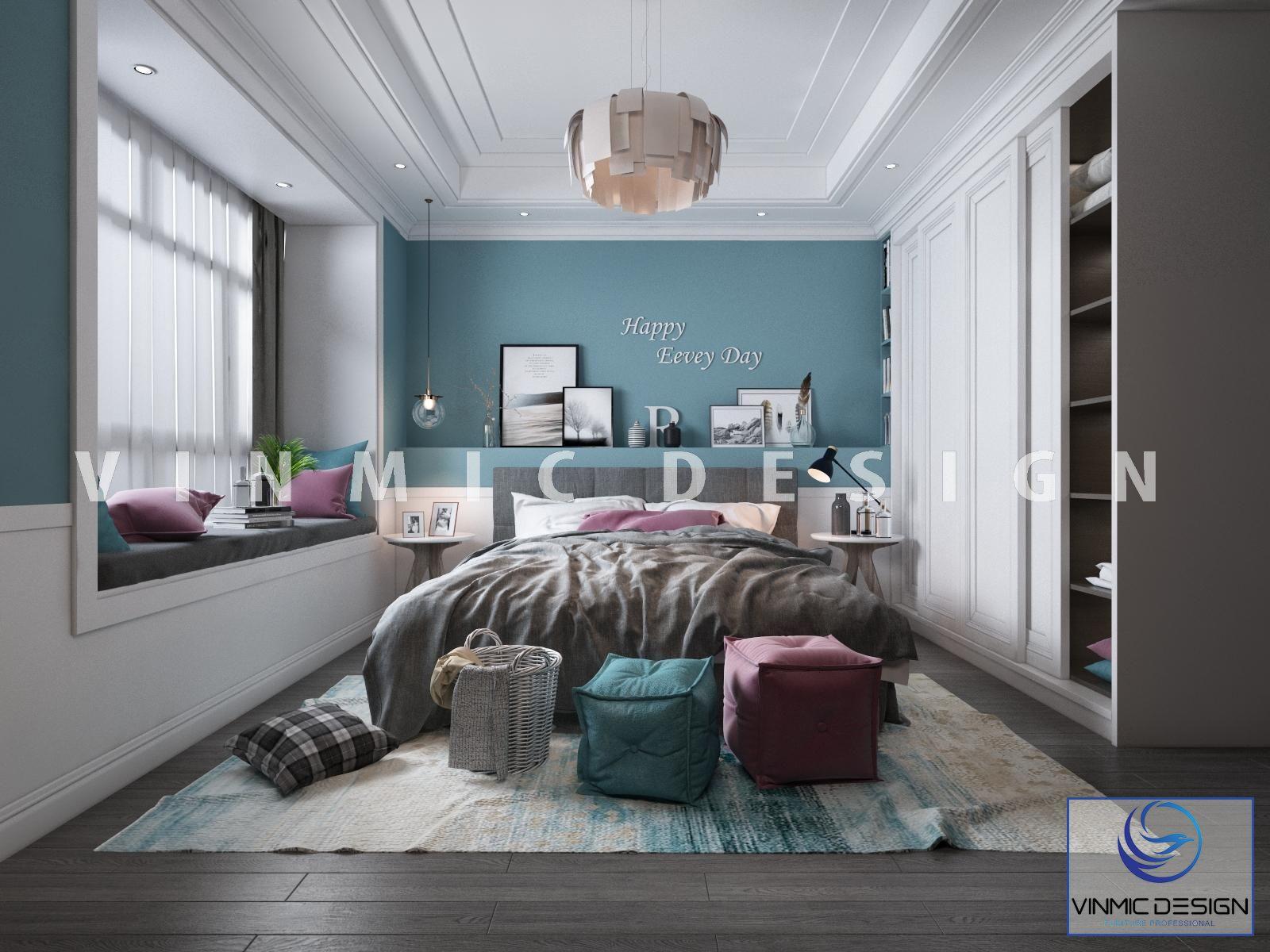 Thiết kế nội thất phòng ngủ trẻ trung, đẹp mắt tại căn hộ Vinhomes Smart City