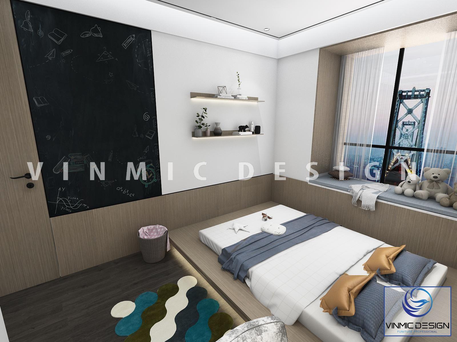 Thiết kế nội thất phòng ngủ hiện đại, tối giản diện tích