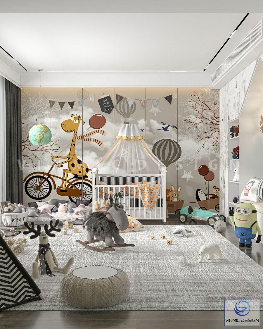 Thiết kế nội thất phòng ngủ bé sơ sinh đáng yêu, vui nhộn