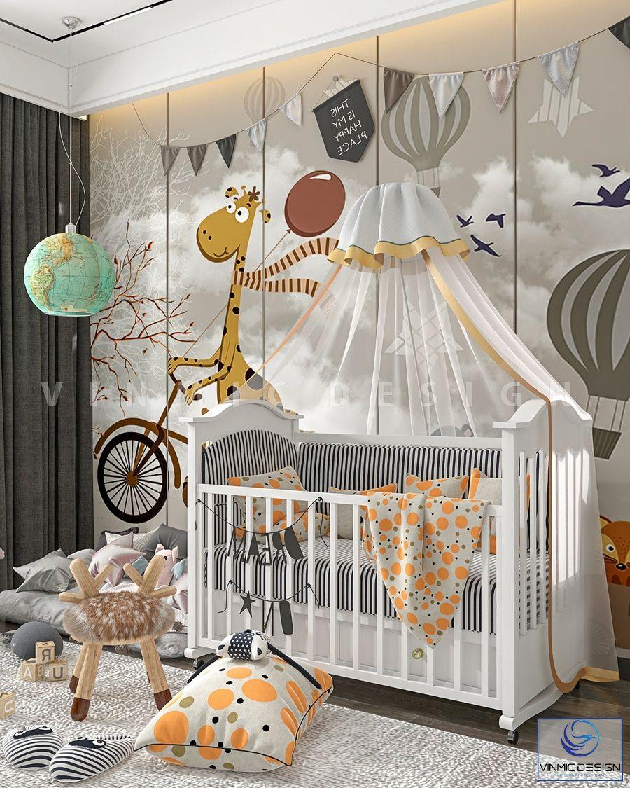 Ở một góc khác, thiết kế phòng ngủ bé sơ sinh với đồ trang trí và tranh sơn tường ấn tượng