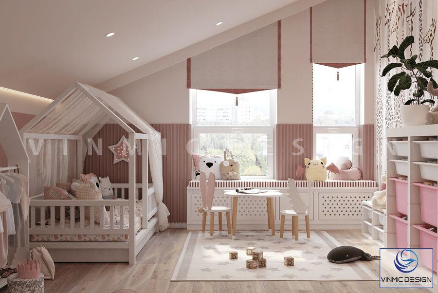 Thiết kế nội thất phòng ngủ bé sơ sinh với tone màu hồng dễ thương