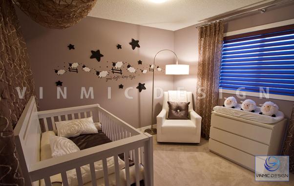 Thiết kế nội thất phòng ngủ bé sơ sinh ấm áp, gần gũi