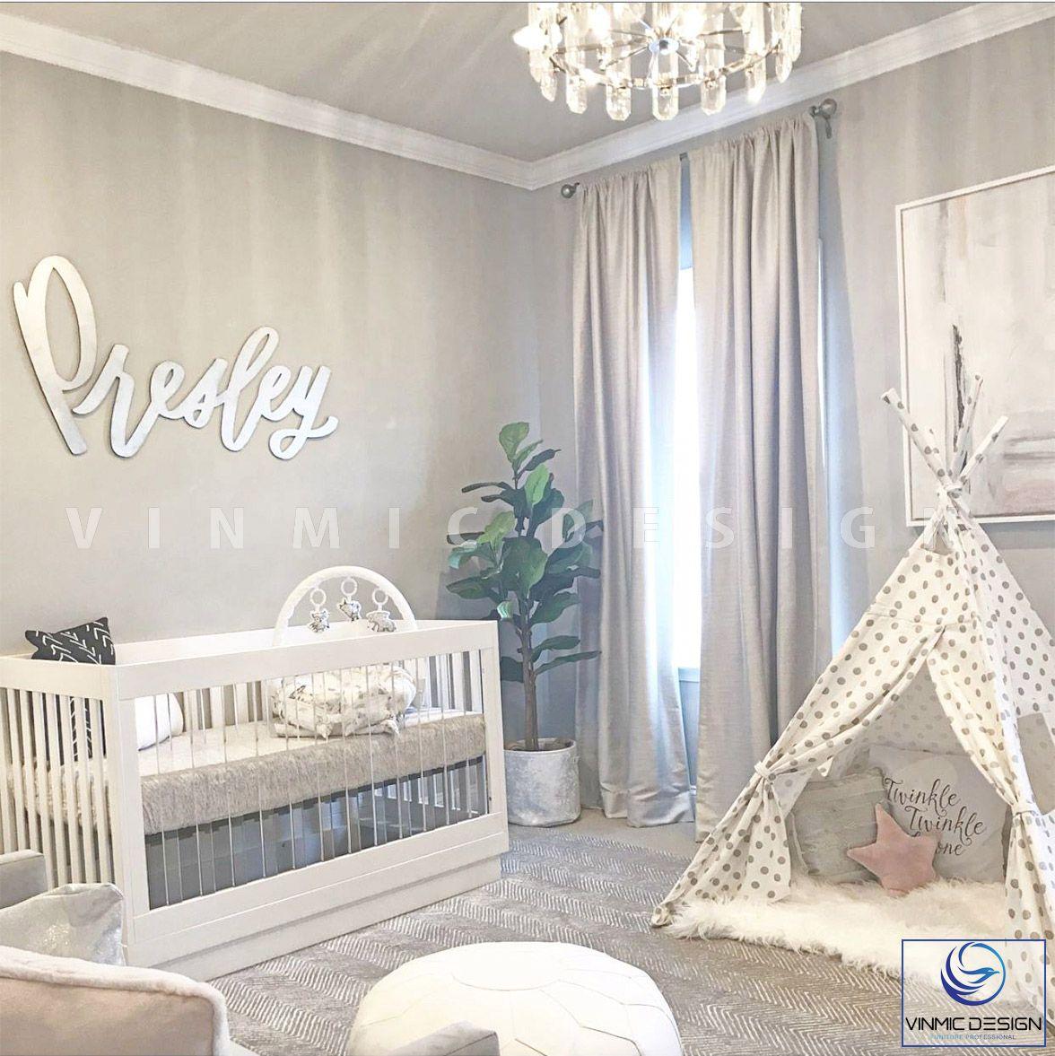 Thiết kế phòng ngủ bé sơ sinh với tone màu ghi hiện đại