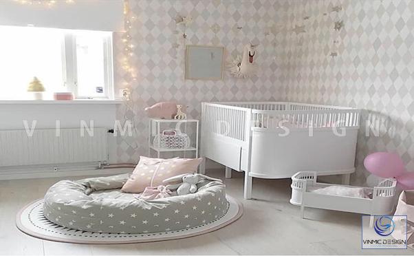 Thiết kế nội thất phòng ngủ cho bé tone ghi xinh xắn