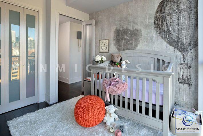 Thiết kế nội thất phòng ngủ cho bé tone màu ghi chủ đạo
