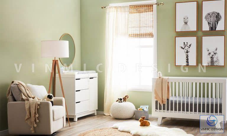 Thiết kế nội thất phòng ngủ cho bé với tone màu xanh tươi mới