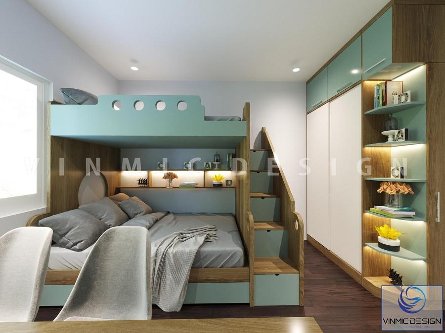 Thiết kế phòng ngủ với giường ngủ tầng cho bé sinh đôi với tone màu xanh năng động tại chung cư Green Pearl