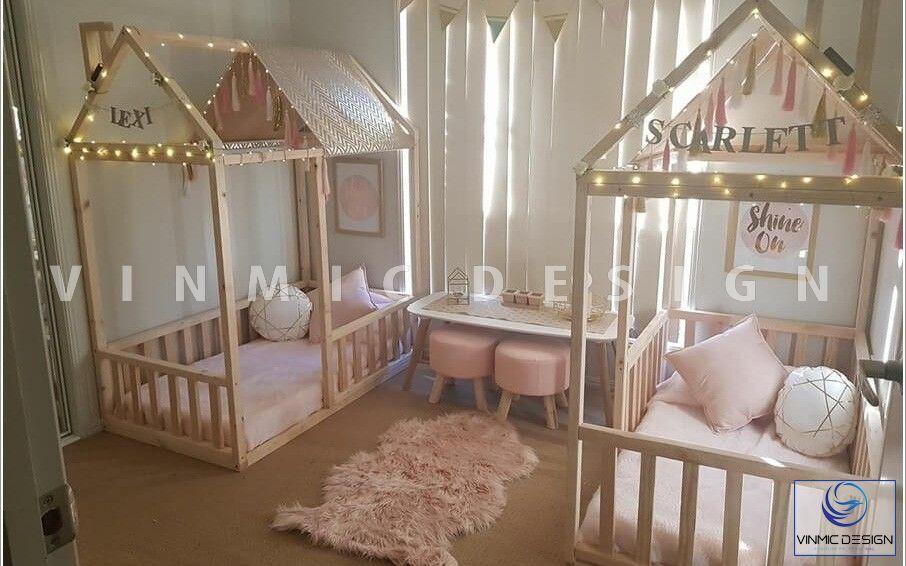 Thiết kế nội thất phòng ngủ cho bé gái sinh đôi ấn tượng, không gian bài trí thông minh