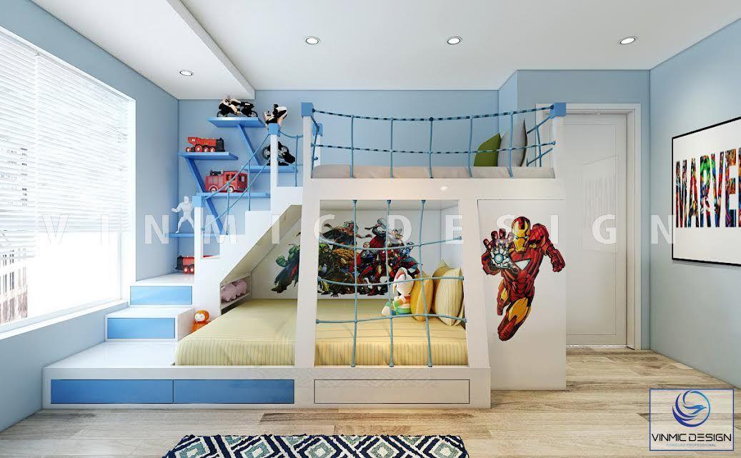 Thiết kế nội thất phòng ngủ cho 2 bé trai sinh đôi với tone màu xanh, hướng trang trí năng động, mới mẻ